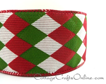 """Christmas Wired Ribbon, 2 1/2"""" , Red, Green, Ivory Mesh Argyle - TEN YARDS -  """"Holiday Harlequin""""  Wire Edged Ribbon"""