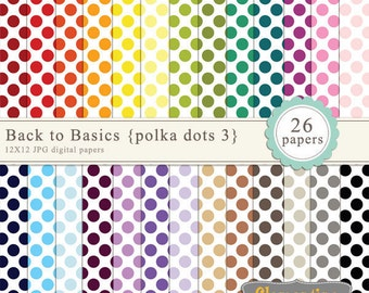 Polka dot digital paper 12x12, digital scrapbooking paper, royalty free commercial use - polka3- Instant Download