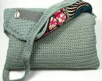 """""""CLUTCH"""" of crocheted cotton water green evening bag"""