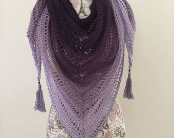 Oversized Cotton Ombre Triangle Scarf, ombre triangle shawl, ready to ship