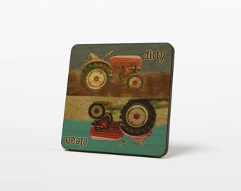 Farm Dirty Clean Dish Magnet - Tractor Dirty Clean Dishes Magnet - Farm Dishwasher Sign