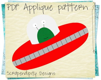 Spaceship Applique Template - Alien Baby Quilt / Baby Clothing Design / Childrens Clothing / Iron on Patches / PDF Applique Quilt AP118-D
