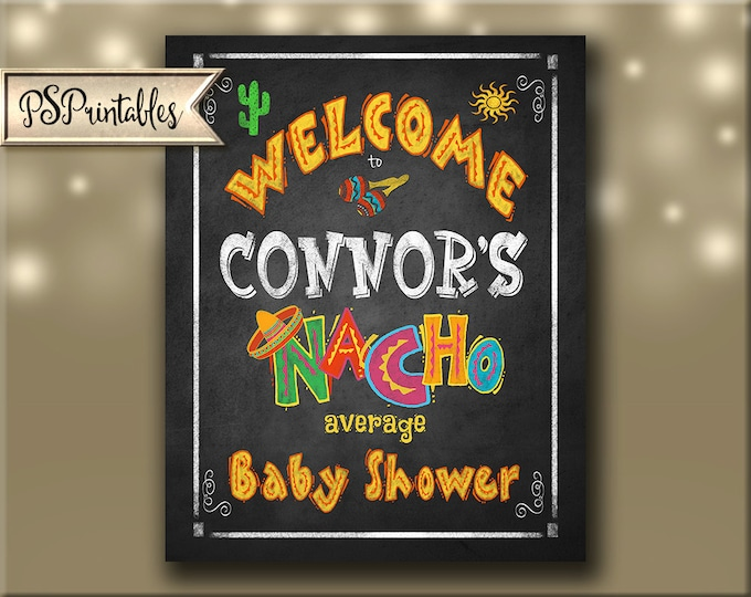 Printable Baby Shower FIESTA WELCOME Party Chalkboard Poster or sign - Personalized - Printable DIY - Cinco De Mayo Party Decoration