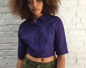 50s school girl top with Peter Pan collar / 1950s cropped jacket / vintage purple blazer / rockabilly pinup crop top belly shirt