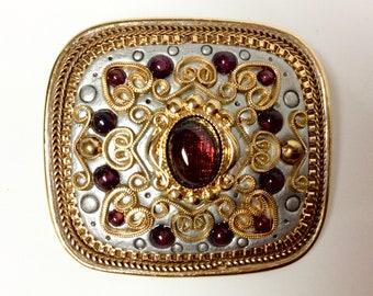 Vintage Signed Michal Golan Brooch Pin Pendent Garnets Necklace