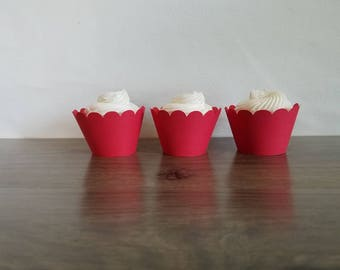 12 red scallop cupcake wrappers! Scallop  Cupcake wrappers scalloped cupcake wrapper