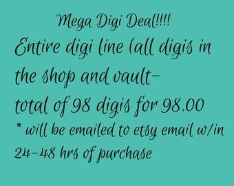 Mega Digi Sale bundle - Digi, Digi Stamp, Coloring page