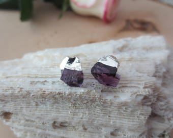 Amethyst stud earrings, amethyst earrings, silver amethyst earrings, amethyst nugget studs, simple amethyst earrings, February birthstone