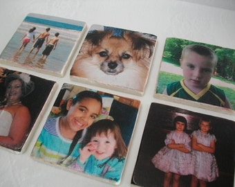 Custom Photo Coasters Made with Your Pictures 6 Piece Set / Custom Decorative Tile Coasters