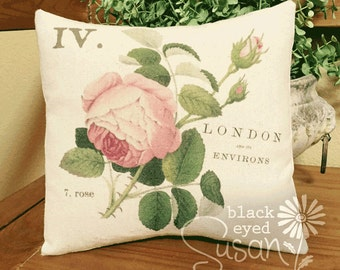 """Pink Cabbage Rose Pillow Cover 