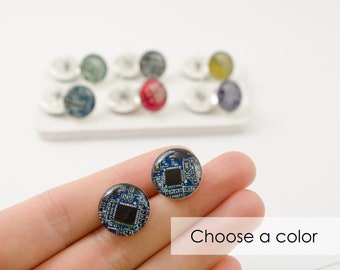 LARGE Post Earrings Choose Your Color, Sterling Silver Circuit Board Stud Earrings, Wearable Technology, Techie Earrings, Computer Earrings