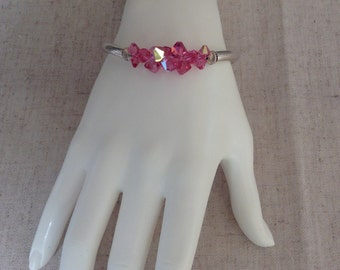 Crystal and sterling silver tube bracelet