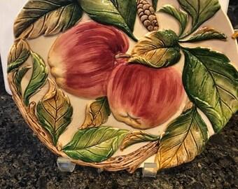 Vintage Takahashi decorative raised relief Apple and Leaves plate
