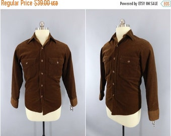 Vintage 1960s Corduroy Shirt / 60s Men's Shirt / Vintage Sears Fieldmaster / Mid-Century Menswear / Small S