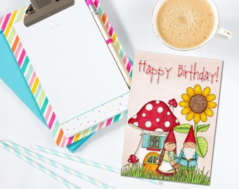 Gnome birthday card etsy gnome happy birthday card happy birthday group card gnome card lawn gnome bookmarktalkfo Image collections