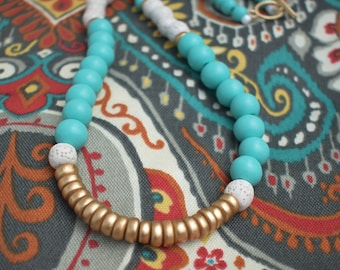 Turquoise and Gold Wood Beaded Necklace