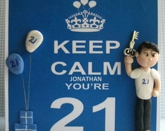 Personalised 21st Birthday card hot Dough Creations
