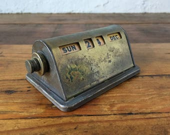 Industrial Desk Calendar, Perpetual Brass Roll Date Calendar, Vintage Office