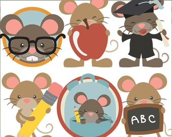 School Mouse Clipart -Personal and Limited Commercial Use- back to school, gradutaion, teacher appreciation clip art