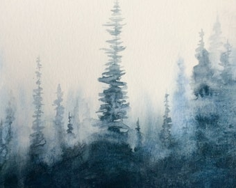 Forest painting, forest watercolor, Misty forest, pine forest, watercolor trees, Misty pines, tree watercolor, tree painting, pine trees