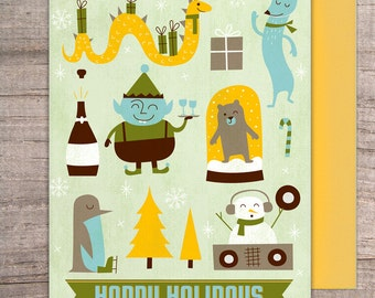 Jolly Posse Winter Holiday Greeting Card - christmas, xmas, present, new year, holiday, snowman, penguin, elf, winter