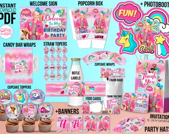 Jojo Siwa party kit for download, Jojo Siwa party supplies, Jojo Siwa Party printables, Jojo Siwa party decoration with Jojo Siwa invitation