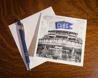 1373 Wrigley Field Fine Art Note Cards Single Cards or 5 pack- Vintage Look - Chicago Cubs - Baseball - Wrigley Field