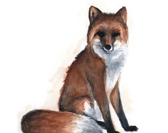 red fox 5x7 art print