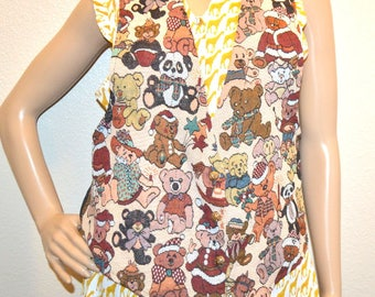 Vintage Backroad Blues Grunge Revival Boho tapestry vest  Large teddy all around toy bear outfit STEAMPUNK, Button Up vest