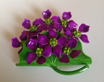 Vintage Flower Brooch, Purple Violets