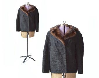 1960s Coat, Persian Lamb Coat, Black 60s Coat, Womens Coats, Winter Coat, Vintage Coat, Black Coat, Fur Collar Coat, Short Fur Coat