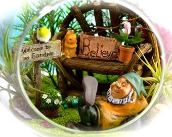 "Gnome Garden Terrarium Kit ~ 8"" Air Plant Terrarium Kit ~ Grapevine Bench ~ Gnome Figure ~ Sand and Butterfly Choice ~ Gardening ~ Gift Idea"