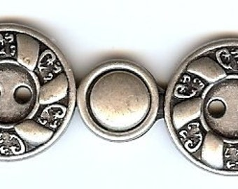 BC51 or BC52 - Metal Closure - Antique Silver and Brass Finish Swirl Design Clasp