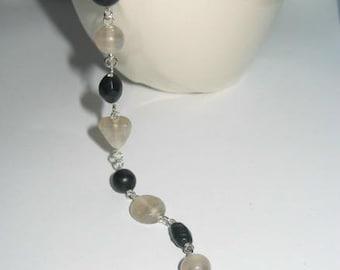 Matte Black and White Beaded Bracelet