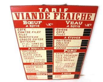 Fantastique grand métal Français Boucher prix Menu affichage planche. 1960.