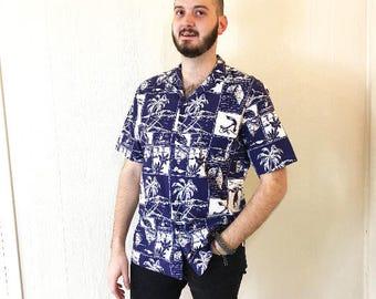 Vintage Hawaiian Shirt Anchors Sailboats Palm Trees Blue White Cotton Kolekole XL