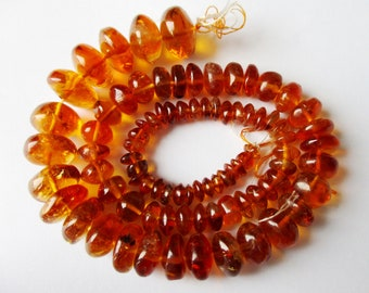 Madeira Citrine smooth rondelle bead- 5-10mm- 7 inch