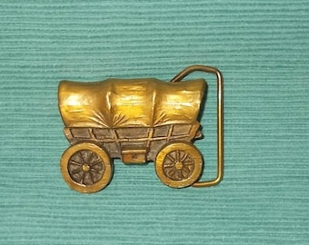 Vintage 1970's Adezy Brass Belt Buckle-Consetoga Wagon-Pioneers-Western Wagon Train-FREE SHIPPING!