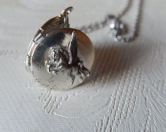 Pegasus Locket, Tiny Pendant, Working Locket, Sterling PegasusGift for Her