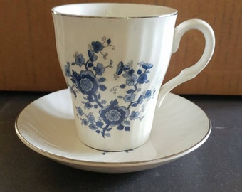 Coffee Cup and saucer - Royal Blue Ironstone - Enoch Wedgwood (tunstall) Ltd.
