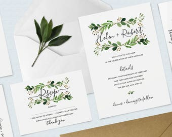 Botanical Watercolour Wedding Bundle, Invitation and RSVP Pack, Leafy, Wreath, Minimal, Calligraphy Invitation