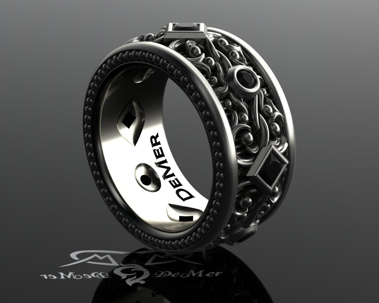 Black Diamond Mens Eternity Band Wide Sterling Wedding Band