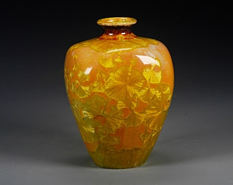Porcelain Vase - Orange, Gold - Crystaline Glaze - Hand Made Ceramics - FREE SHIPPING - #B-1-3706