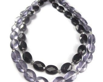 2 Strands of Purple Glass Beads Faceted Oval 13mm Dark and Light with Crystals