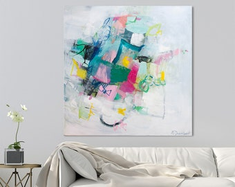 Large Abstract Painting Original Wall Art Colorful multicolor painting canvas abstract art 32x32 by DUEALBERI