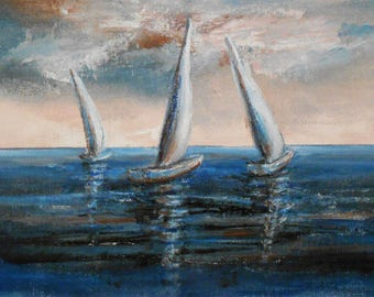 Sailboats, Acrylic on Canvas, Original Painting, Modern Art, Contemporary Art, Modern Painting
