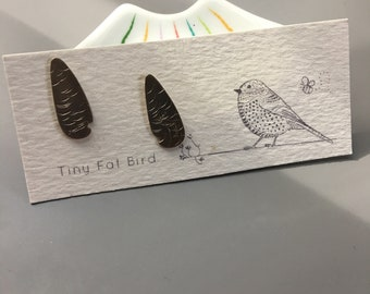 Scaled or Feathered Posts: Bright, Hammered Recycled Sterling Post Earrings