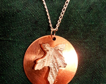 Stunning Cast Sterling Silver Leaf Pendant on Copper Handmade in the UK