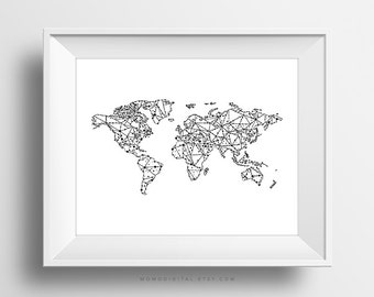 Black world map poster sale geometric map world map print world map poster black white gumiabroncs Images