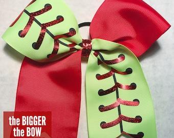 Softball Tick Tock Hair Bow: Optional Ribbon Colors